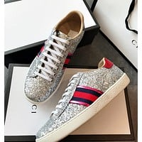 GUCCI New Style Popular Women Personality Metal Color Shiny Stripe Flat Sport Shoe Sneakers Silvery I