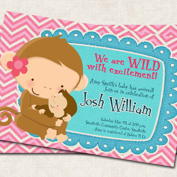 Cute Monkey Baby Shower Invitation, mom, pink blue (Digital File)