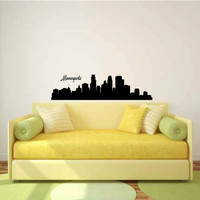 Minneapolis Minnesota City Skyline Vinyl Wall Decal Sticker Graphic