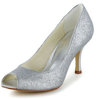 Graceful Women's Wedding Shoes With Sparking Glitter and Peep Toe Design