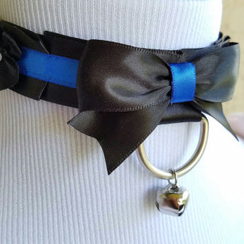 Black and Blue Collar, Pet Play Collar, Kitten Play Collar, Tug Proof Collar, BDSM Collar, Ribbon Collar, Submissive Collar, Pleated Collar