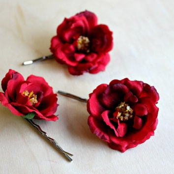 Rose Hair Pins, Bridal Hair Clips, Pink Flower, White Rose, Red rose, Bridesmaids, woodland, wedding hair accessories, fall, autumn,