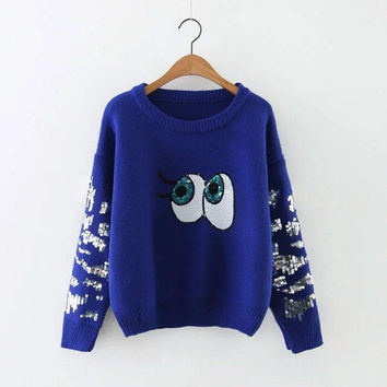 2016 new women fashion sweater sequined Casual Big Eyes Print pattern knitted pullover Sweater Black Blue