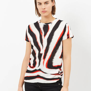 Totokaelo - Proenza Schouler White/black/red Zebra Short Sleeve Zebra Printed T-Shirt - $260.00
