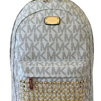 DCCKHI2 MICHAEL Michael Kors Large PRINTED MK STUDDED Jet Set Item Backpack VANILLA