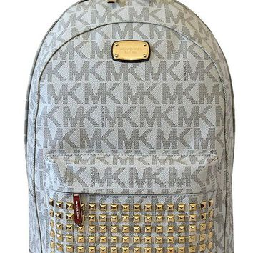 ONETOW MICHAEL Michael Kors Large PRINTED MK STUDDED Jet Set Item Backpack VANILLA