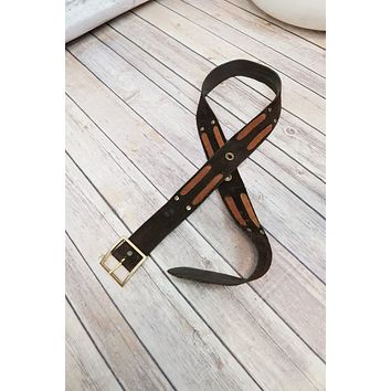 Vintage 1960s Handmade + Suede Leather Belt