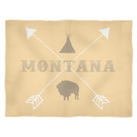 Montana Bison Tipi Crossed Arrows Fleece Blanket