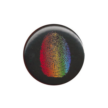 LGBT Pride Rainbow Fingerprint Pinback Button Badge Pin