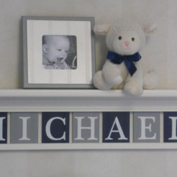 "Navy and Gray Nursery Wall Shelving - Baby Boy Nursery Wall Art - 30"" Linen (Off White) Shelf 7 Painted Wall Tile Letters - MICHAEL"