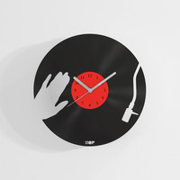 DJ clock from upcycled vinyl record (LP)   Hand-made gift for music lover   Unique, original home wall decoration, present