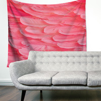 """""""Pink Feathers"""" Wings Trendy Boho Wall Tapestry"""
