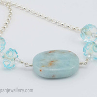 Amazonite and aqua glass swirl bead necklace, amazonite, gemstone, lampwork bead, glass, aquamarine, ooak, handmade, subtle, sterling silver