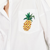 POPLIN SHIRT WITH EMBROIDERED PINEAPPLE DETAILS