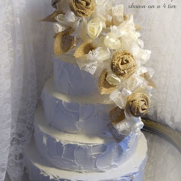 Large Burlap & Lace Cascade Cake Topper Flower Pick. Colors are brown burlap, ivory silk, ivory organza and ivory lace. Made to Order.