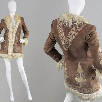 Vintage 60s 70s Afghan Coat Sheepskin Coat Hippy Jacket Embroidered Jacket Shearling Coat Yak Hair Mongolian Lamb Fur Hippie Coat Tibetan