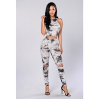 Fashion Retro Female Ink Print Ripped Long Pants Sleeveless Vest Set Two-Piece