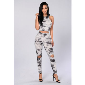Fashion Sexy Retro Female Ink Print Ripped Long Pants Sleeveless Vest Set Two-Piece
