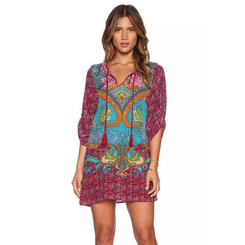 Feitong Women Boho Street Baroque Hippie Ethnic Vintage Totem Print Contrast Tie Neck One Piece Shift Dress vestidos feminino