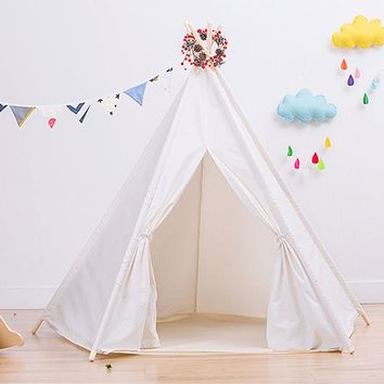 Large Cotton Canvas Teepee Tent - Foldable 7 Feet Tall - 5 Poles - Customizable WHITE Cotton Tent - ChildrenÕs Teepee Tent Kids Play Tent Outdoor
