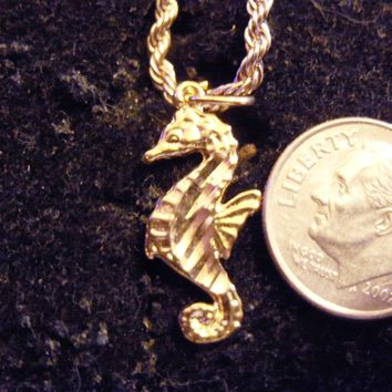 bling 14k yellow gold plated sea ocean beach animal shell fish seahorse symbol hip hop pendant charm 24 inch rope chain necklace trendy sailor seaman fashion jewelry