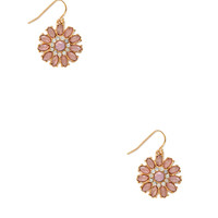 FOREVER 21 Faux Stone Flower Earrings Pink/Gold One