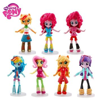 7pcs/Set 14cm My Little Pony Toys Rainbow Dash Pinkie Pie Rarity PVC Action Figures Set Collectible Model  Dolls For Kids Gifts