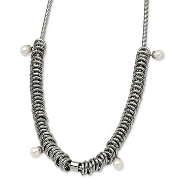 Stainless Steel Freshwater Cultured Pearls 18.25in Toggle Necklace