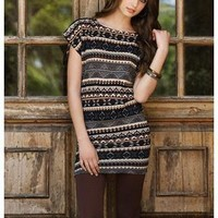 STRIPED AZTEC PRINT TUNIC DRESS