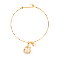 Get Charmed Gold with Crystal Anchor Bangle Bracelet