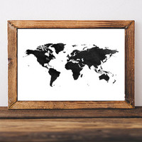 World Map Watercolor Art Print Instant Download Map Print Map of the World Wall Art Watercolor Map Wall Decor Watercolor Art Print Map Art