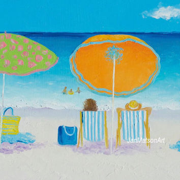 BEACH art, Beach painting, canvas art, coastal wall decor, beach decor, whimsical art, seascape, beach house decor, beach artwork, Etsy Art