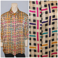 Vintage 1990's Gold Silk Blouse with Colorful Geometric Pattern Size 12 Shirt with Shoulder Pads Long Sleeve Dressy Top Button Down Blouse