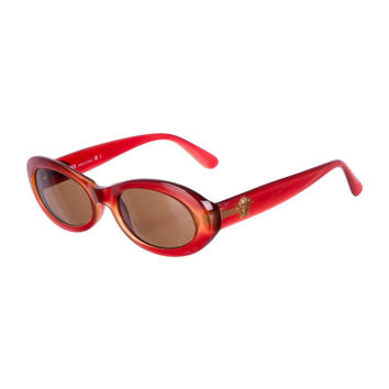 90s VERSACE Crimson Red Medusa Head Round / Oval Eye / Cat Eye Vintage Designer Sunglasses