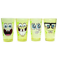Silver Buffalo SG031P1 Nickelodeon SpongeBob Faces 4 Piece Pint Set, 16-ounces, Yellow Glass
