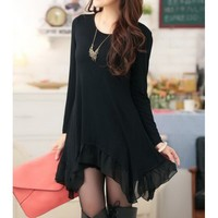 Loose Long Sleeeve Scoop Neck Solid Color Women's Dress