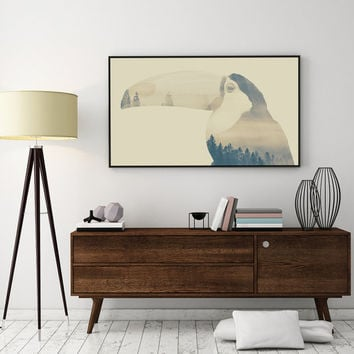 Toucan Print, Toucan Illustration, Double Exposure, Toucan Double Exposure, Minimal Print, Animal Print, Bedroom Poster,Wall Art, Home Decor