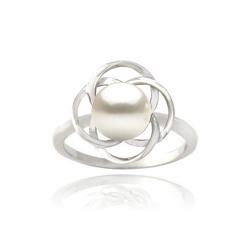 Glitzy Rocks Sterling Silver Freshwater Pearl Flower Ring (8 mm) | Overstock.com Shopping - The Best Deals on Pearl Rings