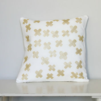 Crazy Crosses Metallic Gold Cushion Cover, handpainted pillow cover. Crosses in Gold Pillow Slip Decor