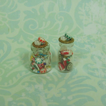 Dollhouse Miniature Pair of Bottles with Christmas Candies - A