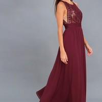 Forever and Always Burgundy Lace Maxi Dress