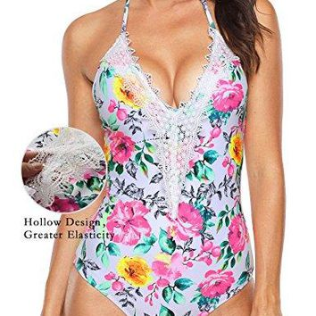 Aixy Womens Lace Halter Monokini Retro Crochet Deep Plunge Floral Backless One Piece Swimsuit Bathing SuitFBA