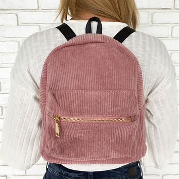 Mini Corduroy Backpack in Pink