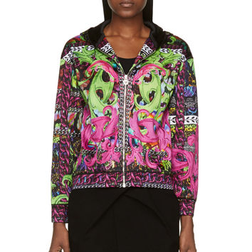 Versace Green And Pink Psychedlic Print Bomber Jacket