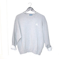 grey ADIDAS sweat shirt 90s adidas pull over sweatshirt minimalist ATHLETIC jumper small