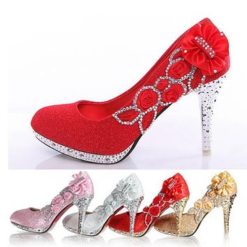 Wedding Shoes Bridal Pumps Women Girl Glitter Fake Crystal Rose Flower Evening Party Court Shoes red bottom High Heels 8cm