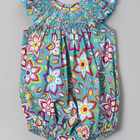 Turquoise Flower Smocked Bubble Bodysuit - Infant & Toddler | zulily