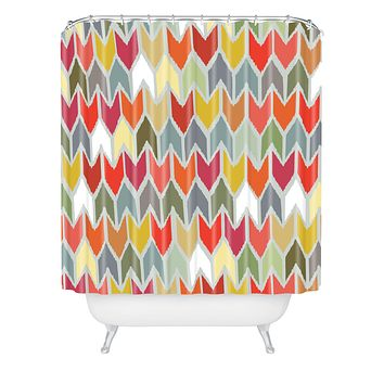 Sharon Turner Beach House Ikat Chevron Shower Curtain