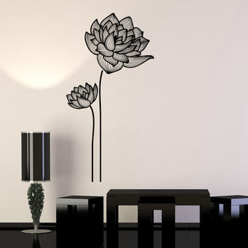 Vinyl Wall Decal Flowers Ornament Garden Decor Girls Room Stickers Unique Gift (970ig)