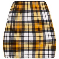 Rosa Yellow Check Print Mini Skirt